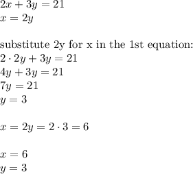 2x+3y=21 \\x=2y \\ \\\hbox{substitute 2y for x in the 1st equation:} \\2 \cdot 2y+ 3y=21 \\4y+3y=21 \\7y=21 \\y=3 \\ \\x=2y=2 \cdot 3=6 \\ \\x=6 \\y=3