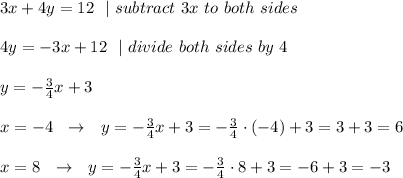 3x+4y=12 \ \ |\ subtract\ 3x\ to\ both\ sides \\ 4y=-3x+12 \ \ | \ divide \ both \ sides\ by\ 4\\ y=-\frac{3}{4}x+3\\x=-4 \ \ \to \ \ y= -\frac{3}{4}x+3=-\frac{3}{4} \cdot (-4)+3=3+3=6\\x=8 \ \ \to \ \ y= -\frac{3}{4}x+3=-\frac{3}{4} \cdot8+3=-6+3=-3