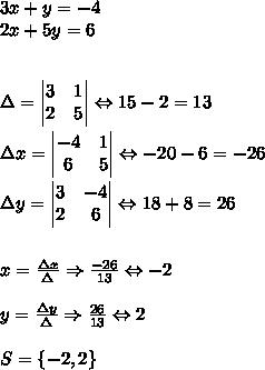 3x+y=-4\\ 2x+5y=6\\ \\ \\ \Delta =\begin{vmatrix} 3 & 1 \\ 2 & 5 \end{vmatrix}\Leftrightarrow 15-2=13\\ \\ \Delta x=\begin{vmatrix} -4 & 1 \\ 6 & 5 \end{vmatrix}\Leftrightarrow -20-6=-26\\ \\ \Delta y=\begin{vmatrix} 3 & -4 \\ 2 & 6 \end{vmatrix}\Leftrightarrow 18+8=26\\ \\ \\ x=\frac { \Delta x }{ \Delta  } \Rightarrow \frac { -26 }{ 13 } \Leftrightarrow -2\\ \\ y=\frac { \Delta y }{ \Delta  } \Rightarrow \frac { 26 }{ 13 } \Leftrightarrow 2\\ \\ S=\{ -2,2\}