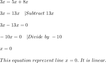 3x=5x+8x\\\\3x=13x\ \ \ |Subtract\ 13x\\\\3x-13x=0\\\\-10x=0\ \ \ |Divide\ by\ -10\\\\x=0\\\\This\ equation\ reprezent\ line\ x=0.\ It\ is\ linear.