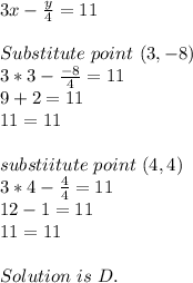 3x-\frac{y}{4}=11\\