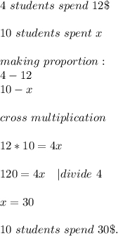4\ students\ spend\ 12\$\\10\ students\ spent \ x\\making\ proportion:\4-12\10-x\\cross\ multiplication\\12*10=4x\\120=4x \ \ \ | divide\by\ 4\\x=30\\10\ students\ spend\ 30\$.