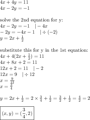 4x+4y=11 \\4x-2y=-1 \\ \\\hbox{solve the 2nd equation for y:} \\4x-2y=-1 \ \ \ |-4x \\-2y=-4x-1 \ \ \ |\div (-2) \\y=2x+\frac{1}{2} \\ \\\hbox{substitute this for y in the 1st equation:} \\4x+4(2x+\frac{1}{2})=11 \\4x+8x+2=11 \\12x+2=11 \ \ \ |-2 \\12x=9 \ \ \ |\div 12 \\x=\frac{9}{12} \\x=\frac{3}{4} \\ \\y=2x+\frac{1}{2}=2 \times \frac{3}{4}+\frac{1}{2}=\frac{3}{2}+\frac{1}{2}=\frac{4}{2}=2 \\ \\\boxed{(x,y)=(\frac{3}{4},2)}