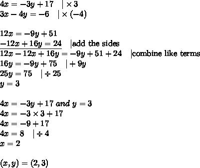 4x=-3y+17 \ \ \ |\times 3 \\3x-4y=-6 \ \ \ |\times (-4) \\ \\12x=-9y+51 \\\underline{-12x+16y=24} \ \ \ |\hbox{add the sides} \\12x-12x+16y=-9y+51+24 \ \ \ |\hbox{combine like terms} \\16y=-9y+75 \ \ \ |+9y \\25y=75 \ \ \ |\div 25 \\y=3 \\ \\4x=-3y+17 \ and \ y=3 \\4x=-3 \times 3+17 \\4x=-9+17 \\4x=8 \ \ \ |\div 4 \\x=2 \\ \\(x,y)=(2,3)