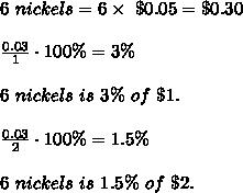 6\ nickels=6\times\ \$0.05=\$0.30\\\\\frac{0.03}{1}\cdot100\%=3\%\\\\6\ nickels\ is\ 3\%\ of\ \$1.\\\\\frac{0.03}{2}\cdot100\%=1.5\%\\\\6\ nickels\ is\ 1.5\%\ of\ \$2.