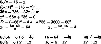 6\sqrt{x}=16-x \\ (6\sqrt{x})^2=(16-x)^2 \\ 36x=256-32x+x^2 \\ x^2-68x+256=0 \\ D=(-68)^2-4*1*256=3600=60^2 \\ x_1=\frac{68+60}{2}=64\ \ \ \ \ \ \ \ \ \ \ \ \ x_2=\frac{68-60}{2}=4 \\ \\ 6\sqrt{64}=6*8=48\ \ \ \ \ \ \ \ 16-64=-48\ \ \ \ \ \ \ \ \ 48\neq-48 \\ 6\sqrt4=6*2=12\ \ \ \ \ \ \ \ \ \ 16-4=12\ \ \ \ \ \ \ \ \ \ \ \ 12=12
