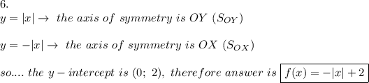 6.\y=|x|\to\ the\ axis\ of\ symmetry\ is\ OY\ (S_{OY})\\y=-|x|\to\ the\ axis\ of\ symmetry\ is\ OX\ (S_{OX})\\so....\ the\ y-intercept\ is\ (0;\ 2),\ therefore\ answer\ is\ \boxed{f(x)=-|x|+2}