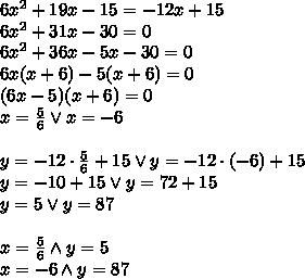 6x^2+19x-15=-12x+15\\6x^2+31x-30=0\\6x^2+36x-5x-30=0\\6x(x+6)-5(x+6)=0\\(6x-5)(x+6)=0\\x=\frac{5}{6} \vee x=-6\\\\y=-12\cdot\frac{5}{6} +15\vee y=-12\cdot(-6)+15\\y=-10 +15\vee y=72+15\\y=5 \vee y=87\\\\x=\frac{5}{6} \wedge y=5\\x=-6 \wedge y=87