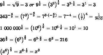 9^\frac{1}{2}=\sqrt9=3\ or\ 9^\frac{1}{2}=\left(3^2\right)^\frac{1}{2}=3^{2\cdot\frac{1}{2}}=3^1=3\\\\343^{-\frac{4}{3}}=\left(7^3\right)^{-\frac{4}{3}}=7^{3\cdot(-\frac{4}{3})}=7^{-4}=\left(\frac{1}{7}\right)^4=\frac{1}{2410}\\\\1\ 000\ 000^\frac{1}{6}=\left(10^6\right)^\frac{1}{6}=10^{6\cdot\frac{1}{6}}=10^1=10\\\\36^\frac{3}{2}=\left(6^2\right)^\frac{3}{2}=6^{2\cdot\frac{3}{2}}=6^3=216\\\\\left(x^6\right)^\frac{1}{2}=x^{6\cdot\frac{1}{2}}=x^3