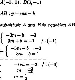 A(-3;\ 3);\ B(3;-1)\\\\AB:y=mx+b\\\\substitute\ A\ and\ B\ to\ equation\ AB\\\\  \left\{\begin{array}{ccc}-3m+b=-3\\3m+b=-1&/\cdot(-1)\end{array}\right\\\\+\left\{\begin{array}{ccc}-3m+b=-3\\-3m-b=1\end{array}\right\\----------\\.\ \ \ \ \ \ \ -6m=-2\ \ \ /:(-6)\\.\ \ \ \ \ \ \ \ \ \ m=\frac{-2}{-6}\\.\ \ \ \ \ \ \ \ m=\frac{1}{3}