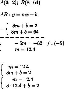 A(3;\ 2);\ B(8;\ 64)\\\\AB:y=mx+b\\\\-\left\{\begin{array}{ccc}3m+b=2\\8m+b=64\end{array}\right\\---------\\.\ \ \ \ \ \ \ -5m=-62\ \ \ /:(-5)\\.\ \ \ \ \ \ \ \ m=12.4\\\\\\\left\{\begin{array}{ccc}m=12.4\\3m+b=2\end{array}\right\\\left\{\begin{array}{ccc}m=12.4\\3\cdot12.4+b=2\end{array}\right