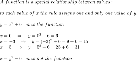 A\ function\ is\ a\ special\ relationship\ between\ values:\\\\ to\ each\ value\ of\ x\ the\ rule\ assigns\ one\ and\ only\ one\ value\ of\ y.\\------------------------------\\y=x^2+6\ \ \ it\ is\ the\ function\\\\x=0\ \ \ \Rightarrow\ \ \ y=0^2+6=6\\x=-3\ \ \ \Rightarrow\ \ \ y=(-3)^2+6=9+6=15\\x=5\ \ \ \Rightarrow\ \ \ y=5^2+6=25+6=31\\------------------------------\\x=y^2-6\ \ \ it\ is\ not\ the\ function\\