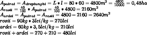 A _{patrat}=A _{dreptunghi} =L*l=80*60=4800m ^{2} = \frac{4800}{10000} =0,48ha \\  A _{rosii}=\frac{45}{100}* A _{patrat}=\frac{45}{100}*4800=2160m^{2} \\  A _{ardei}=A _{patrat}-A _{rosii}=4800-2160=2640m ^{2}  \\ rosii=90kg*3lei/kg=270lei \\ ardei=60kg*3,5lei/kg=210lei \\ rosii+ardei=270+210=480lei