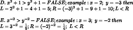 D.\ x^2+1 > y^2+1-FALSE;example:x=2;\ y=-3\ then\\L=2^2+1=4+1=5;R=(-3)^2+1=9+1=10;L < R\\\\E.\ x^{-2} > y^{-2}-FALSE;example:x=3;\ y=-2\ then\\L=3^{-2}=\frac{1}{9};R=(-2)^{-2}=\frac{1}{4};\ L < R