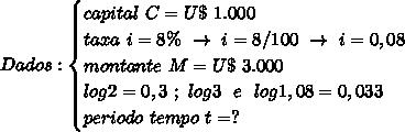 Dados:\begin{cases}capital~C=U\$~1.000\\taxa~i=8\%~\to~i=8/100~\to~i=0,08\\montante~M=U\$~3.000\\log2=0,3~;~log3~~e~~log1,08=0,033\\ periodo~tempo~t=?\end{cases}