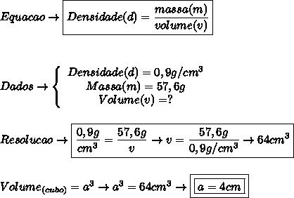 Equacao \to  \boxed{Densidade(d)= \frac{massa(m)}{volume(v)} }\\\\ \\\\Dados\to   \left\{\begin{array}{ccc}Densidade(d) = 0,9g/cm^3\\Massa(m) = 57,6g\\Volume(v) = ?\end{array}\right\\ \\\\Resolucao \to \boxed{ \frac{0,9g}{cm^3} =  \frac{57,6g}{v} \to v =  \frac{57,6g}{0,9g/cm^3} \to    64cm^3}\\\\\\Volume_{(cubo)} = a^3 \to a^3 = 64cm^3 \to \boxed{\boxed{a = 4cm}}