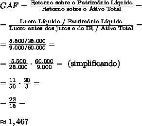 GAF = \frac{\text{Retorno sobre o Patrim\^onio L\'iquido}}{\text{Retorno sobre o Ativo Total}}=\\\\=\frac{\text{Lucro L\'iquido / Patrim\^onio L\'iquido}}{\text{Lucro antes dos juros e do IR / Ativo Total}}=\\\\=\frac{5.500/25.000}{9.000/60.000}=\\\\=\frac{5.500}{25.000}\cdot\frac{60.000}{9.000}=\text{ (simplificando)}\\\\=\frac{11}{50}\cdot\frac{20}{3}=\\\\=\frac{22}{15}=\\\\\approx1,467