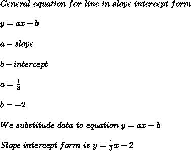 General\ equation\ for\ line\ in\ slope\ intercept\ form\\\\y=ax+b\\\\a-slope\\\\b-intercept\\\\a=\frac{1}{3}\\\\b=-2\\\\We\ substitude\ data\ to\ equation\ y=ax+b\\\\Slope\ intercept\ form\ is\ y=\frac{1}{3}x-2