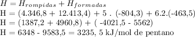 H = H_r_o_m_p_i_d_a_s + H_f_o_r_m_a_d_a_sH = (4.346,8 + 12.413,4) + 5 . (-804,3) + 6.2.(-463,5) H = (1387,2 + 4960,8) + ( -4021,5 - 5562)H = 6348 - 9583,5 = 3235, 5 kJ/mol de pentano