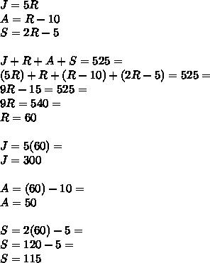 J=5R \\ A=R-10 \\ S=2R-5 \\  \\ J+R+A+S=525= \\ (5R)+R+(R-10)+(2R-5)=525= \\ 9R-15=525= \\ 9R=540= \\ R=60 \\  \\ J=5(60)= \\ J=300 \\  \\ A=(60)-10= \\ A=50 \\  \\ S=2(60)-5= \\ S=120-5= \\ S=115