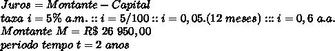 Juros=Montante-Capital\\\taxa~i=5\%~a.m.::i=5/100::i=0,05.(12~meses):::i=0,6~a.a.\\\Montante~M=R\$~26~950,00\\\periodo~tempo~t=2~anos