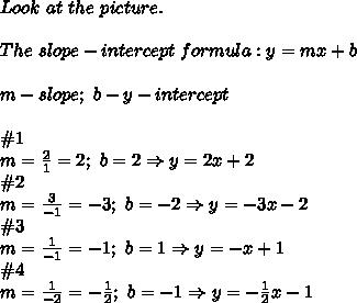 Look\ at\ the\ picture.\\\\The\ slope-intercept\ formula:y=mx+b\\\\m-slope;\ b-y-intercept\\\\\#1\\m=\frac{2}{1}=2;\ b=2\Rightarrow y=2x+2\\\#2\\m=\frac{3}{-1}=-3;\ b=-2\Rightarrow y=-3x-2\\\#3\\m=\frac{1}{-1}=-1;\ b=1\Rightarrow y=-x+1\\\#4\\m=\frac{1}{-2}=-\frac{1}{2};\ b=-1\Rightarrow y=-\frac{1}{2}x-1