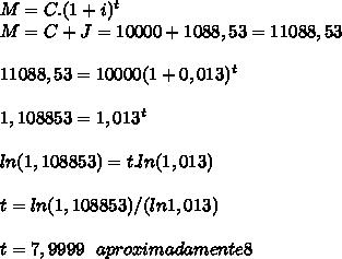M=C.(1+i)^{t}\\ M=C+J=10000+1088,53=11088,53\\ \\ 11088,53=10000(1+0,013)^{t}\\ \\ 1,108853=1,013^{t}\\ \\ ln(1,108853)=t.ln(1,013)\\ \\ t=ln(1,108853)/(ln1,013)\\ \\ t=7,9999 \ \ aproximadamente 8
