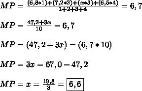 MP =  \frac{(6,8 * 1) + (7,2 * 2) + (x * 3) + (6,5 * 4)}{1 + 2 + 3 + 4} = 6,7\\\\MP = \frac{47,2 + 3x}{10}  = 6,7\\\\MP = (47,2 + 3x) = (6,7 * 10) \\\\MP = 3x = 67,0 - 47,2 \\\\MP = x =  \frac{19,8}{3} = \boxed{6,6}