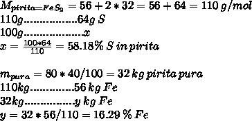 M_{pirita = Fe S_{2} } = 56 + 2*32 = 56 + 64 = 110\:g/mol\\ 110g.................64g\:S\\ 100g...................x\\ x= \frac{100*64}{110} = 58.18 \% \:S \:in \:pirita \\\\m_{pura} = 80*40/100=32\:kg\:pirita\:pura\\110kg..............56\:kg\:Fe\\32kg................y\:kg\:Fe\\y = 32*56/110 = 16.29\:\%\:Fe