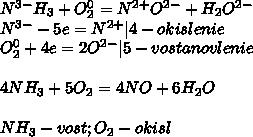 N^{3-}H_3+O_2^0=N^{2+}O^{2-}+H_2O^{2-}\N^{3-}-5e=N^{2+}|4-okislenie\O_2^0+4e=2O^{2-}|5-vostanovlenie\\4NH_3+5O_2=4NO+6H_2O\\NH_3-vost;O_2-okisl