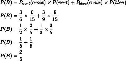 P(B)=P_{vert}(croix)\times P(vert)+P_{bleu}(croix)\times P(bleu)\\\\P(B)=\dfrac{3}{6}\times\dfrac{6}{15}+\dfrac{3}{9}\times\dfrac{9}{15}\\\\P(B)=\dfrac{1}{2}\times\dfrac{2}{5}+\dfrac{1}{3}\times\dfrac{3}{5}\\\\P(B)=\dfrac{1}{5}+\dfrac{1}{5}\\\\P(B)=\dfrac{2}{5}
