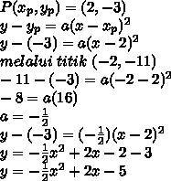 P(x_p,y_p)=(2,-3)\\y-y_p=a(x-x_p)^2\\y-(-3)=a(x-2)^2\\melalui\ titik\ (-2,-11)\\-11-(-3)=a(-2-2)^2\\-8=a(16)\\a=-\frac{1}{2}\\y-(-3)=(-\frac{1}{2})(x-2)^2\\y=-\frac{1}{2}x^2+2x-2-3\\y=-\frac{1}{2}x^2+2x-5\\