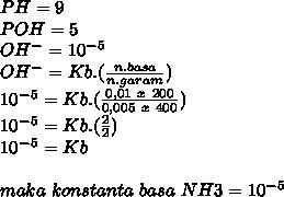 PH=9 \\ POH=5 \\ OH^-=10^-^5 \\ OH^-=Kb.( \frac{n.basa}{n.garam} ) \\ 10^-^5=Kb.( \frac{0,01~x~200}{0,005~x~400} ) \\ 10^-^5=Kb.( \frac{2}{2}) \\  10^-^5=Kb \\  \\ maka~konstanta~basa~NH3=10^-^5