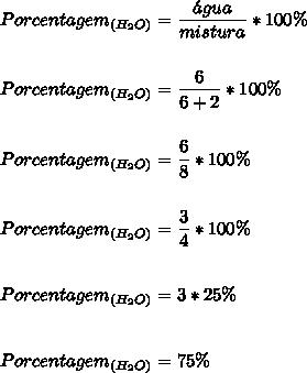 Porcentagem_{(H_{2}O)}=\dfrac{\'agua}{mistura}*100\%\\\\\\Porcentagem_{(H_{2}O)}=\dfrac{6}{6+2}*100\%\\\\\\Porcentagem_{(H_{2}O)}=\dfrac{6}{8}*100\%\\\\\\Porcentagem_{(H_{2}O)}=\dfrac{3}{4}*100\%\\\\\\Porcentagem_{(H_{2}O)}=3*25\%\\\\\\Porcentagem_{(H_{2}O)}=75\%