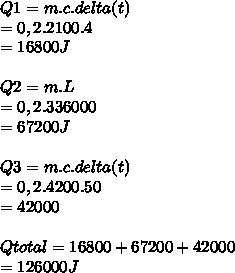 Q1=m.c.delta(t) \\ =0,2.2100.4 \\ =16800 J \\  \\ Q2=m.L \\ =0,2.336000 \\ =67200J \\  \\ Q3=m.c.delta(t) \\ =0,2.4200.50 \\ =42000 \\  \\ Qtotal=16800+67200+42000 \\ =126000J