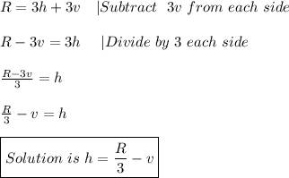 R=3h+3v\ \ \ |Subtract\ \ 3v\ from\ each\ side\\