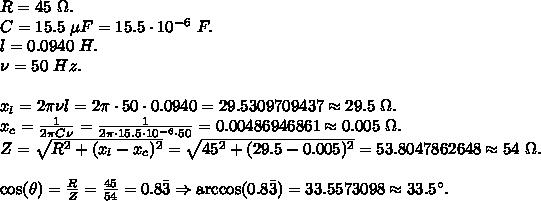 Consider a series rlc circuit where r = 45 0 ω, c = 15 5 μf