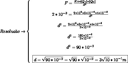 Resolu\c{c}\~ao\to \left\{\begin{array}{ccc}F = \frac{Ko*|Q_1|*|Q_2|}{d^2} \\\\2*10^{-3} = \frac{9*10^{9}*5*10^{-6}*4*10^{-8}}{d^2}\\\\d^2 = \frac{9*10^{9}*5*10^{-6}*4*10^{-8}}{2*10^{-3}}\\\\d^2 = \frac{180*10^{-5} }{2*10^{-3}}\\\\d^{2} = 90*10^{-2} \\\\\boxed{d = \sqrt{90*10^{-2}} =  \sqrt{90}* \sqrt{10^{-2}} = 3 \sqrt{10}*10^{-1}    m} \end{array}\right