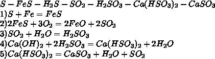 S-FeS-H_2S-SO_2-H_2SO_3-Ca(HSO_3)_2-CaSO_3\\1)S+Fe=FeS\\2)2FeS+3O_2=2FeO+2SO_2\\3)SO_2+H_2O=H_2SO_3\\4)Ca(OH)_2+2H_2SO_3=Ca(HSO_3)_2+2H_2O\\5)Ca(HSO_3)_2=CaSO_3+H_2O+SO_2