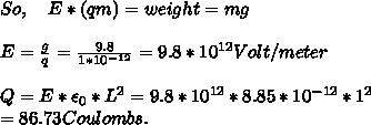 So,\ \ \ E * (q m) = weight = m g \\ \\ E = \frac{g}{q} = \frac{9.8 }{1*10^{-12}} = 9.8*10^{12} Volt/meter \\ \\ Q = E * \epsilon_0 * L^2 = 9.8 * 10^{12} * 8.85 * 10^{-12} * 1^2 \\ = 86.73 Coulombs. \\