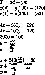 T=xd+ym\\x(4)+y(100)=(120)\\x(1)+y(240)=(80)\\\\4x+960y=320\\4x+100y=120\\860y=200\\y=\frac{200}{860}\\y=\frac{10}{43}\\\\x+240(\frac{10}{43})=80\\x+\frac{2400}{43}=\frac{3440}{43}\\x=\frac{1040}{43}