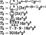 T_r={n \choose r-1}a^{n-(r-1)}b^{r-1}\\T_6={9 \choose 6-1}(2x)^{9-(6-1)}y^{6-1}\\T_6={9 \choose 5}(2x)^4y^{5}\\T_6=\frac{9!}{5!4!}16x^4y^{5}\\T_6=\frac{6\cdot7\cdot8\cdot9}{2\cdot3\cdot4}16x^4y^{5}\\T_6=7\cdot2\cdot9\cdot16x^4y^{5}\\T_6=2016x^4y^5