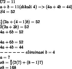 U2=11 \\ a+b=11 (dikali~4)=>(4a+4b=44) \\ S4=52 \\  \\   \frac{4}{2} (2a+(4-1)b)=52 \\ 2(2a+3b)=52 \\ 4a+6b=52 \\  \\ 4a+6b=52 \\ 4a+4b=44 \\ ------ ~eliminasi~b=4 \\ a=7 \\ s8= \frac{8}{2} (2(7)+(8-1)7) \\ s8=168