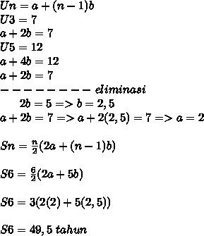 Un=a+(n-1)b \\ U3=7 \\ a+2b=7 \\ U5=12 \\ a+4b=12  \\ a+2b=7  \\ --------~eliminasi~~~~~~~~~~~~~~~ \\ ~~~~~~2b=5 =>b=2,5 \\ a+2b=7=>a+2(2,5)=7=>a=2 \\  \\ Sn= \frac{n}{2}(2a+(n-1)b )\\\\S6= \frac{6}{2}(2a+5b)\\\\S6=3( 2(2)+5(2,5))\\\\S6=49,5~tahun