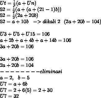 Ut= \frac{1}{2}(a+Un) \\ 52= \frac{1}{2}(a+(a+(21-1)b) ) \\ 52= \frac{1}{2}(2a+20b) \\ 52=a+10b~~=>dikali~2~~(2a+20b=104) \\  \\ U3+U5+U15=106 \\ a+2b+a+4b+a+14b=106 \\ 3a+20b = 106 \\  \\ 3a+20b = 106 \\ 2a+20b=104 \\ -------- eliminasi \\ a=2,~~b=5 \\ U7=a+6b \\ U7=2+6(5)=2+30 \\ U7=32