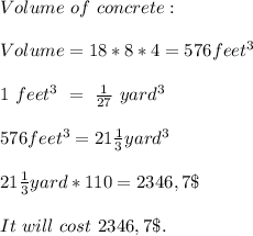 Volume\ of\ concrete:\\