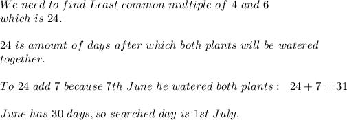 We\ need\ to\ find\ Least\ common\ multiple\ of\ 4\ and\ 6\\ which\ is\ 24.\\
