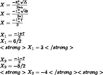 X=\frac{-b _-^+\sqrt\Delta}{2*a}\\X=\frac{-1_-^+\sqrt49}{2*1}\\X= \frac{-1^+_-7}{2}\\\\X_1=\frac{-1+7}{2}\\X_1=6/2\\<strong>X_1=3</strong>\\\\X_2=\frac{-1-7}{2}\\X_2= -8/2\\<strong>X_2=-4</strong><strong>