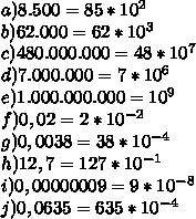 a) 8.500 = 85 * 10^2\\b) 62.000 = 62 * 10^3\\c) 480.000.000 = 48 * 10^7\\d) 7.000.000 = 7 * 10^6\\e)1.000.000.000 = 10^9\\f) 0,02 = 2*10^{-2}\\g)0,0038 = 38 * 10^{-4}\\h)12,7 = 127*10^{-1}\\i)0,00000009 = 9 * 10^{-8}\\j)0,0635 = 635 *10^{-4}