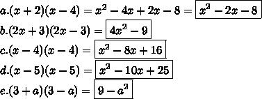 a.(x+2)(x-4)=x^2-4x+2x-8=\boxed{x^2-2x-8}\\b.(2x+3)(2x-3)=\boxed{4x^2-9}\\c.(x-4)(x-4)=\boxed{x^2-8x+16}\\ d.(x-5)(x-5)=\boxed{x^2-10x+25}\\e.(3+a)(3-a)=\boxed{9-a^2}
